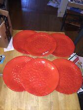 """6 Melamine 11"""" Dinner Plates Orange Flowers"""