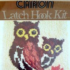 "Vintage Owls Unopened Caron 1978 Latch Hook Kit Cream, Browns,Yellow, 20"" x 27"""