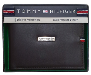 Tommy Hilfiger Men's Original Leather Passcase Cambridge Wallet Brown-NEW IN BOX