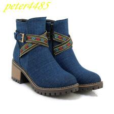 Denim Solid Retro Buckle Women Ankle Boots Zip Fashion Side Zip Block Heels Shoe