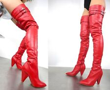CQ COUTURE COSTUMBRE ROCA OVERKNEE BOOTS STIEFEL BOTAS LEATHER BELT ROJO 38