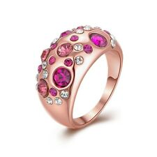 Wedding Ring With Crystal Size 7 Gifts New Women 18K Solid Gold Plated Fashion