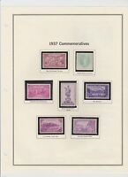 U.S. 1937 Commemorative Year Set with S/S, 8 items Complete, mNH Fine