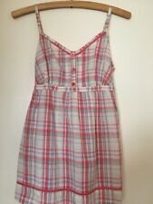 Size 10 Smock Top White Red Striped Tie Back Bytton Front