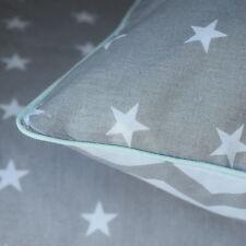 NEW 100% COTTON Double Bedding Cover Set Grey White Chevron Stars reversible