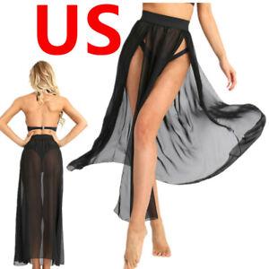 US_Sexy Women Mesh Sheer Flowy Split Long Side Slit Boho Chiffon Maxi Long Skirt