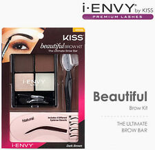 KISS BEAUTIFUL BROW KIT All-in-one eyebrow kit with stencils Dark Brown KPEK05