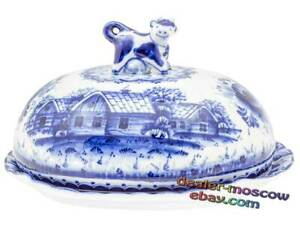 Russian Porcelain Blue Gzhel Hand Painted ChinaWare Butterdish Lodge in Village