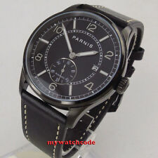 42mm PARNIS black dial date window black PVD coated automatic STYLISH MENS watch