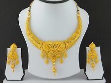 UK Indian Bollywood Gold Plated Jewelry Fashion Wedding Necklace Earrings Set