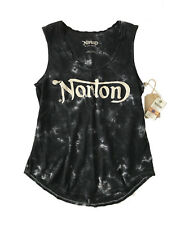 Lucky Brand Womens S - NWT - Faded Black Tye Dye Norton Motorcycle Graphic Tank