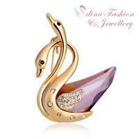 18K Yellow Gold GF Made With Swarovski Crystal Elegant Double Swan Purple Brooch