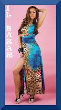 vestito donna abito lungo assimetrico spacco profondo laterale taglia unica