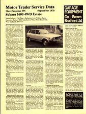 Subaru 1600 4WD Est Motor Trader Service Data Sep 1979