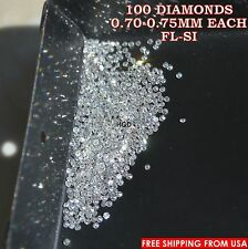 100% NATURAL Loose Round Single Cut 100 Diamonds Real FL-SI, D-H(white) Polished
