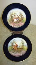 Vintage Limoges collector plates M Fres signed Michelaud Courting scene 2 pc