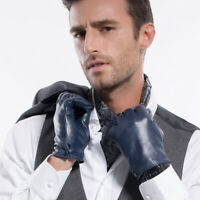 Men Thermal Soft Lambksin Leather Gloves with Button Cashmere/Long Fleece Lining