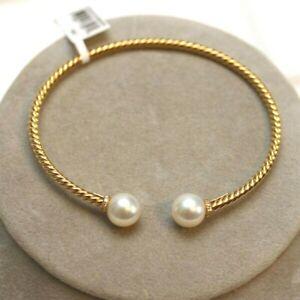 DAVID YURMAN NEW 18K Yellow Gold Solari 9mm Pearl Bead & Diamond Cable Bracelet