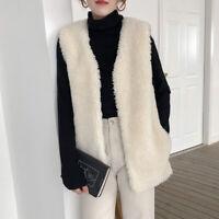 Damen Shaggy Kunstpelz V-Ausschnitt Ärmellose  Weste Taschen Weste Warmer Mantel