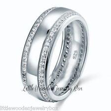 Men's 7mm Wedding Band Ring 925 Sterling Silver Round Diamond Cut  8,9,10,11,12