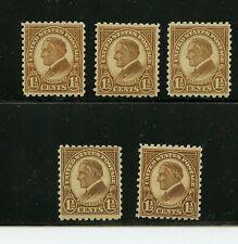 U.S. #582 X (5) (Us118) Harding 1 1/2c brown, perforated 10, Mnh, Fvf, Cv$65.00