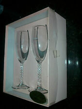 Elegant Bride & Groom Champagne Flutes Wedding Toasting Glasses