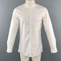 KNOTT Size S White Cotton Nehru Collar Tuxedo Short Sleeve Shirt
