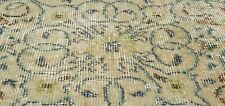 "Antique 1930-1940's Distressed Wool Pile Sage Green Oushak Area Rug 3'10""x6'10"""