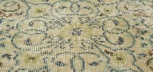 """Antique 1930-1940's Distressed Wool Pile Sage Green Oushak Area Rug 3'10""""x6'10"""""""