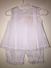 Royal Child Baby 3m Two Piece Swing Top Pant Set Boutique White Pink Bow Easter
