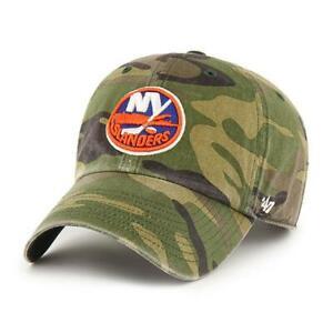 New York Islanders 47 Brand Clean Up Adjustable Strap Camo Hat Dad Cap NHL