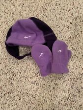 Toddler Girls Purple Nike Hat And Mittens Winter
