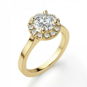 1.20 Ct Moissanite Round Cut Yellow Gold Wedding Ring 14K Solitaire Girl ring