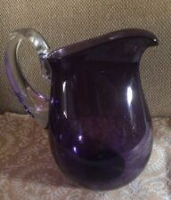 "SIMON MOORE '96 Art Glass Pitcher 8.5"" Eggplant Purple Clear Handle SIGNED"