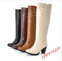 Women Lady Fashion knee high boots pull on chunky heel buckle strap Plus size