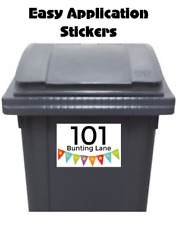 8 Custom Wheelie Bin Stickers Street Address Number Waterproof Bunting 12