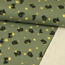 French Terry Stoff Zahlenspiel olivgrün Kinderträume Nähen Kinderstoffe Öko-Tex