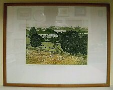 framed & glazed l.e. 17/25 etching, `Harvest`, by E.S.Elmhurst (20th C artist)