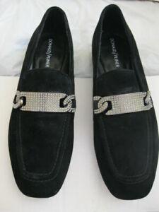 Donald J Pliner HALEN $198 Flats Loafer oxfords women shoes Black Suede stones 7