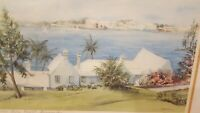 """Carole Holding """"Hamilton from Paget, Bermuda"""" signed framed & matted art print"""