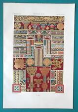 ROMANESQUE Manuscript Ornaments Paintings - A. RACINET Color Lithograph Print