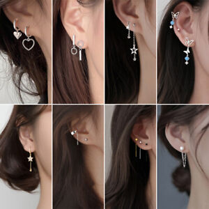 925 Silver Zircon Clip Tassel Stud Earrings Drop Line Cuff Women Jewellery Gifts