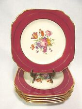 SYRACUSE CHINA OLD IVORY OPCO 6 SQUARE SALAD OR LUNCHON PLATES GOLD TRIM FLOWERS