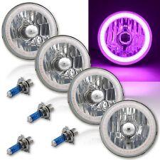 "5-3/4"" SMD Purple LED Halo Angel Eye Halogen Crystal Clear Headlight Set of 4"