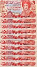 More details for rare set of 10 falkland islands £5 notes 14/06/2005. consecutive prefixes  unc