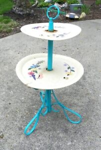 VINTAGE 2 TIERED PATIO TABLE, PLANT STAND, WROUGHT IRON TWISTED METAL, PAINTED