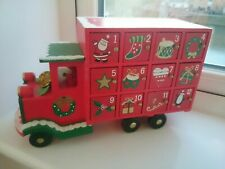 Wooden Red Christmas Advent Calendar Truck with Santa driver
