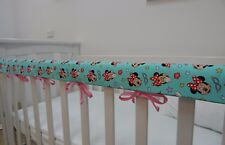 Baby Cot Crib Rail Cover Teething Pad - Minnie Mouse on Aqua - ***REDUCED***