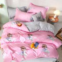 Cute Fairy Girl Stars Kids Pink Bedding Doona Duvet Quilt Cover Set Holiday Gift