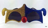 Brille Deluxe mit Maske Glimmer gold/blau Fasching Karneval Party